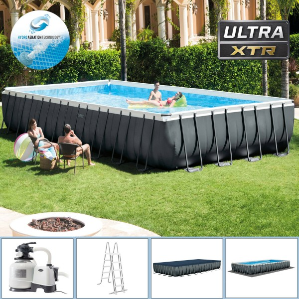 Intex Swimming Pool Ultra Frame Pool Set 975x488x132cm XTR Schwimmbad Sandfilter