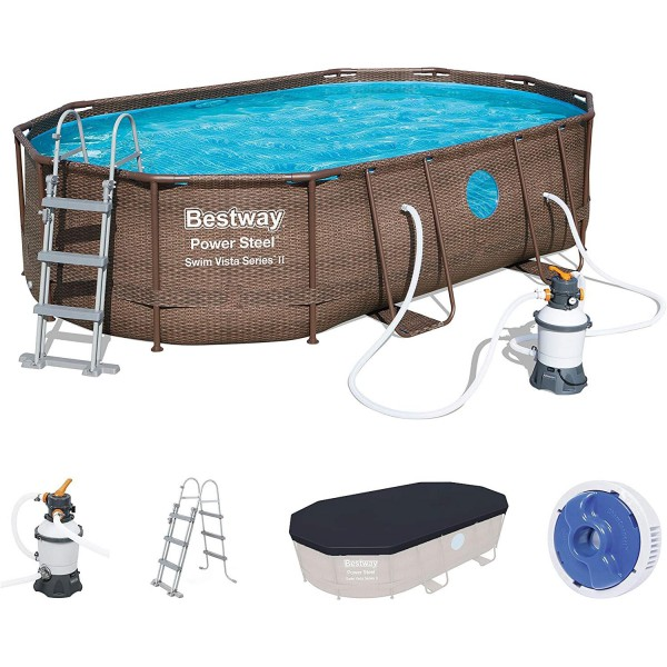 Bestway 56946 Power Steel Pool Set Swim Vista Rattanoptik Swimming  488x305x107