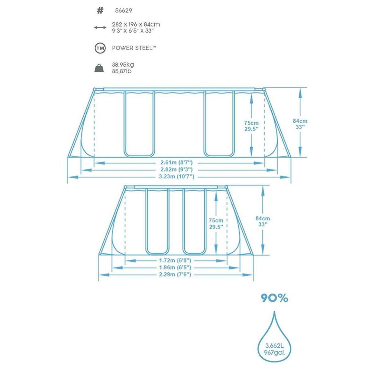 Bestway 56629 Frame Pool Schwimmbad mit Filterpumpe 282x196x84 cm rechteckig