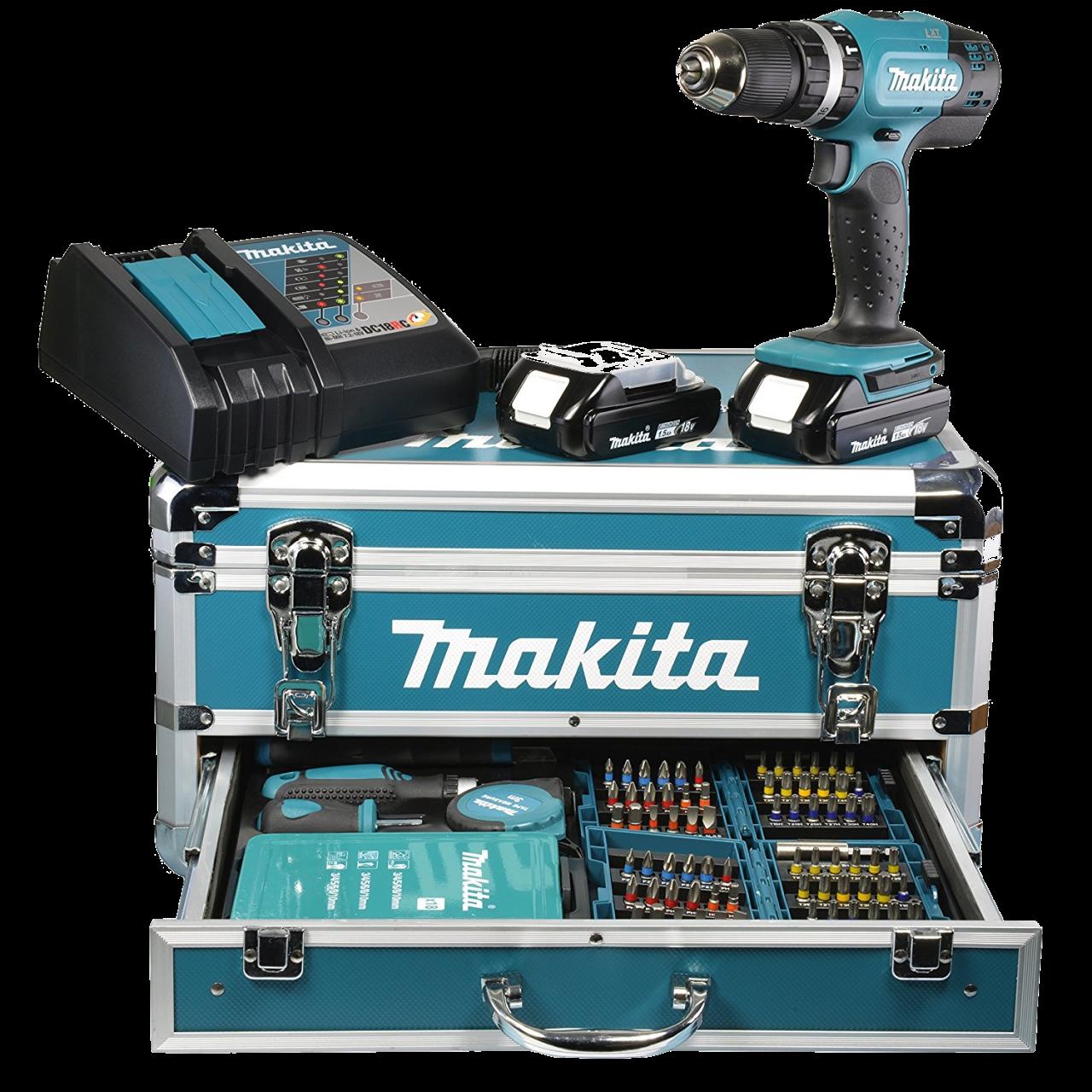 Makita DHP453RFX2 Set Akku-Schlagbohrschrauber 18V, 42 Nm, 0-1.300 min-1, inkl. 2 x Akku, Ladegerät,