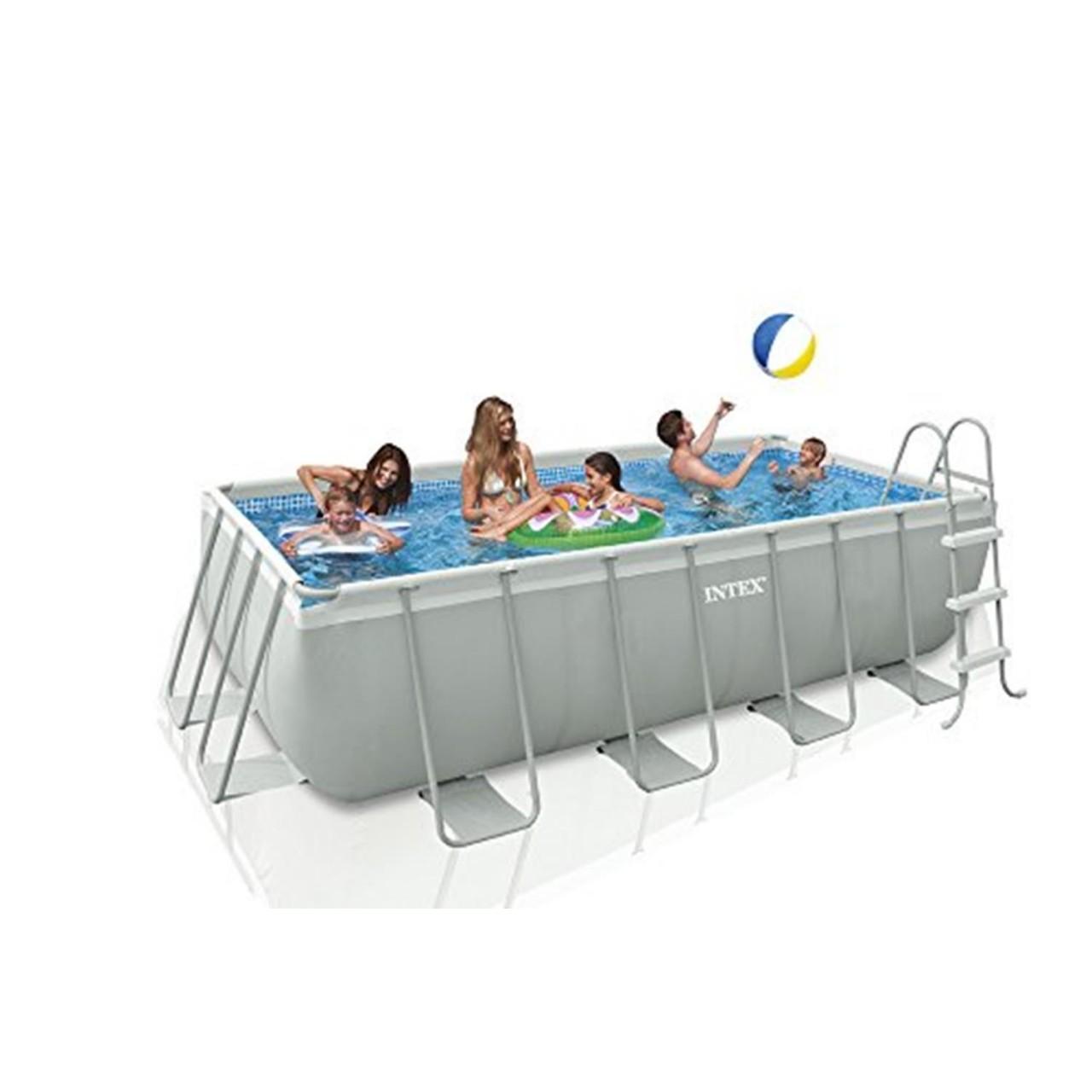 Intex Ultra Frame Pool 400x200x100cm Stahlrohrbecken Swimming Pool Pumpe Leiter