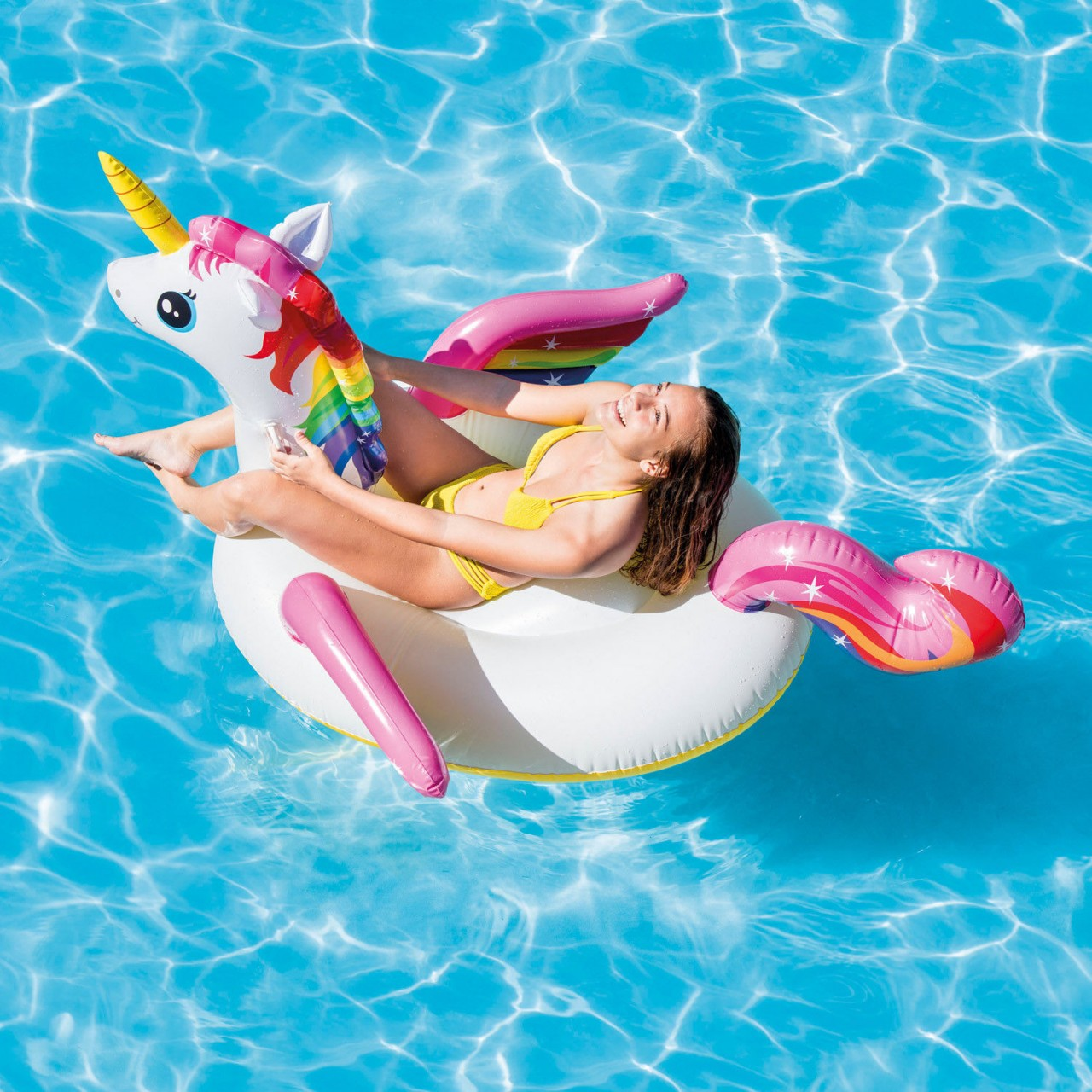 Intex Einhorn Unicorn Schwimmtier Badeinsel Schwimminsel 201x140x97cm 57561