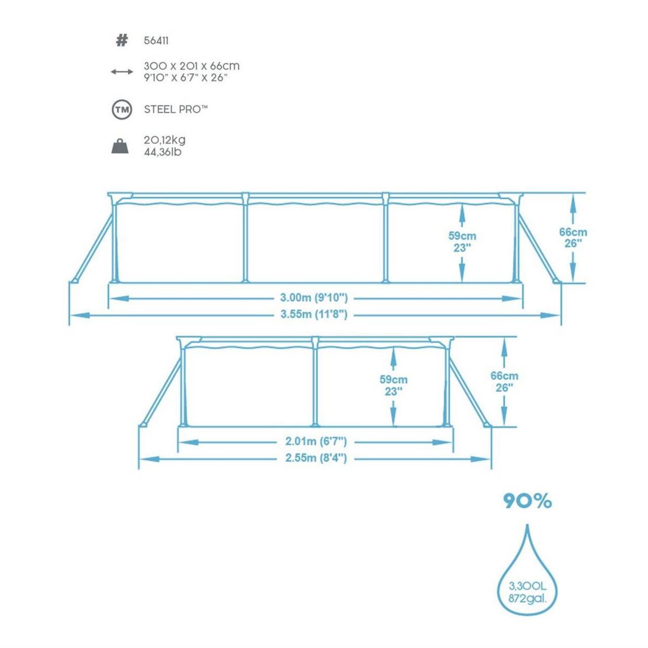 Bestway Frame Pool Set mit Pumpe 300x201x66cm Schwimmbecken Deluxe Splash 56411
