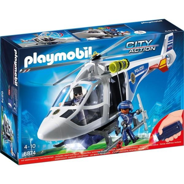 Playmobil 6874 Polizei-Helikopter mit LED-Suchscheinwerfer
