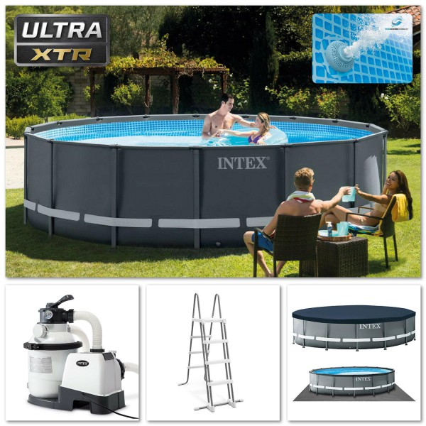 Intex 26326 Ultra Frame Pool XTR 488x122cm Stahlrohrbecken Pumpe Leiter Zubehör