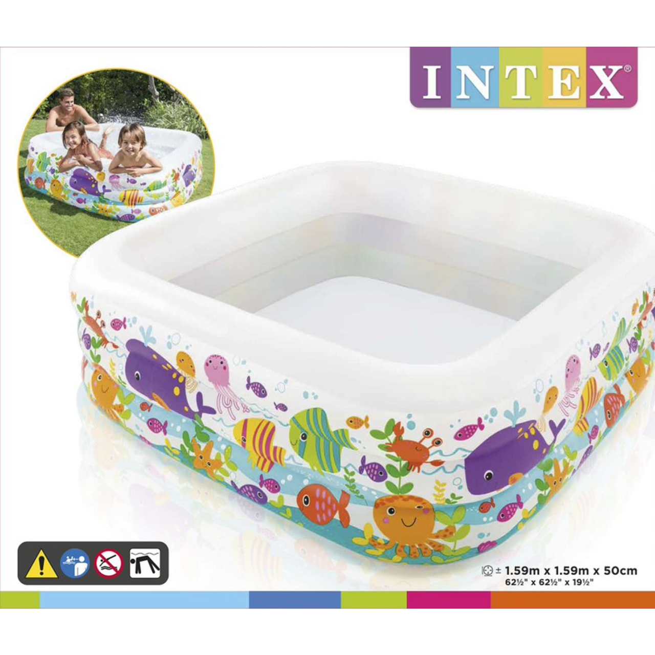 Intex Kinderpool Clearview Aquarium Pool, mehrfarbig, 159 x 159 x 50 cm