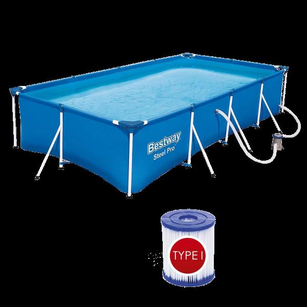 Bestway 56424 Frame Pool Steel Pro mit Filterpumpe Schwimmbecken 400x211x81cm