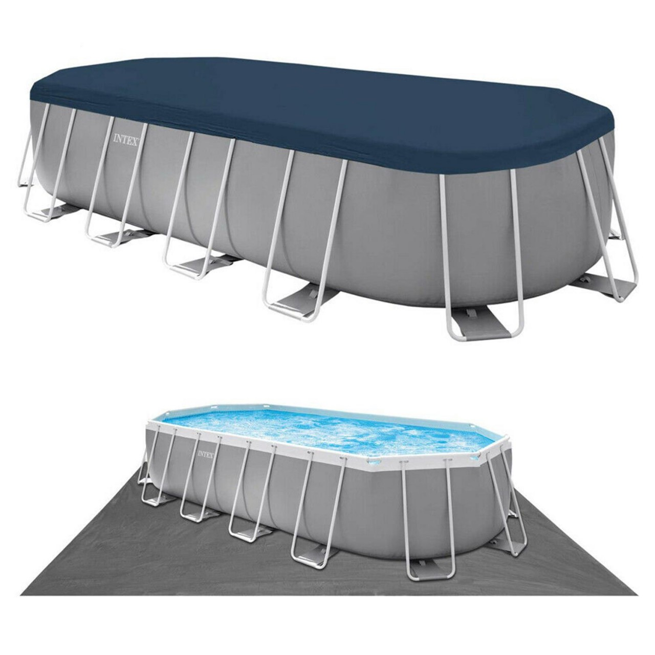 Intex Prism Frame Oval Pool Swimming Pool 610x305x122 cm Schwimmbad Filterpumpe