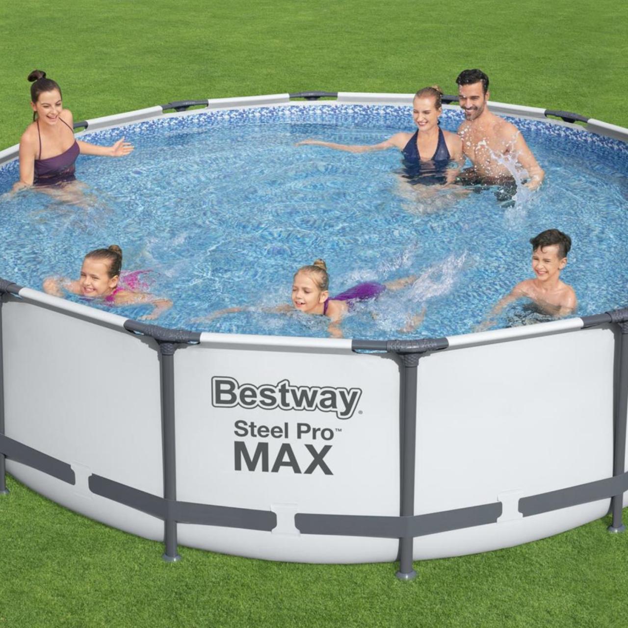 Bestway 56950 Steel Pro MAX Frame Pool Set Ø427x107cm Pumpe Leiter Abdeckplane