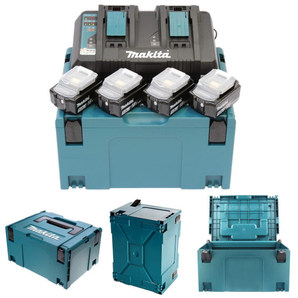 Makita Set KIT Energy 4x Akku 1850B, 1 Doppelschnellladegerät x DC18RD 1x MAKPAC Gr. 3 inkl. Einlage