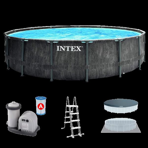 Intex 26744 Greywood Prism Frame Pool Set Ø549x122cm Pumpe Leiter Abdeckplane