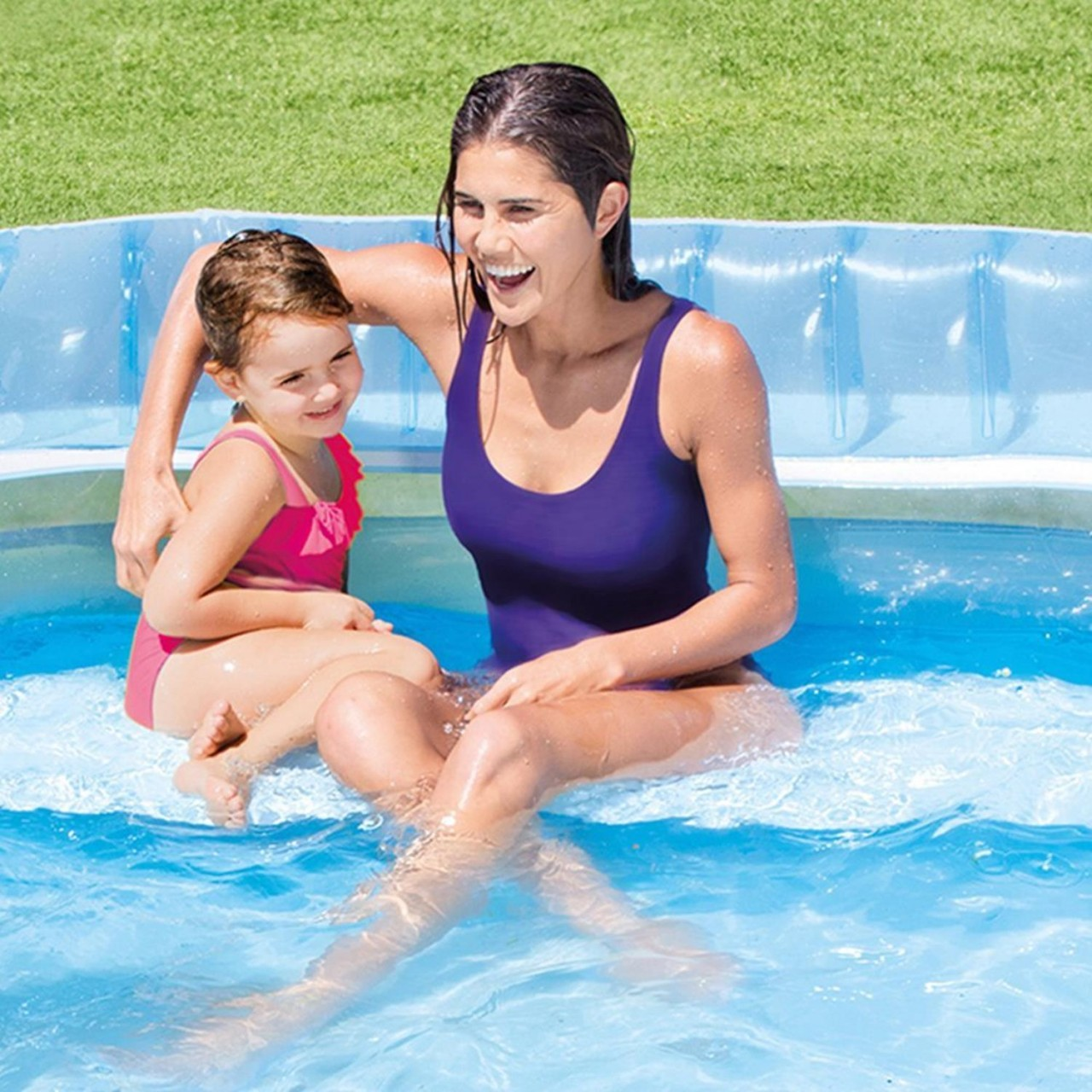 Intex Swim Center Lounge Family Pool Planschbecken Rückenlehne 224 x 216 x 76 cm