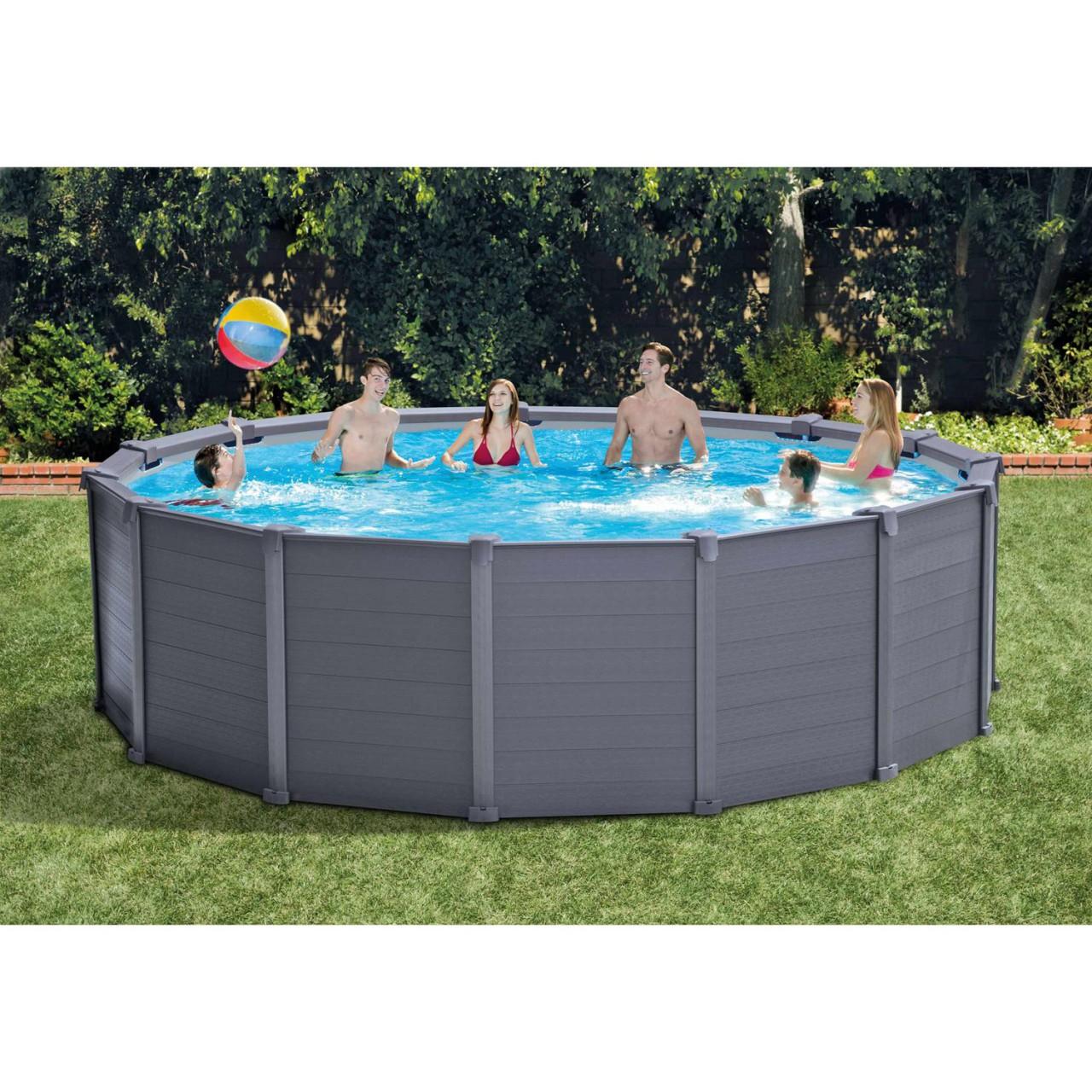 Intex Frame Pool Set Graphit Leiter Boden-Abdeckplane Sandfilteranlage Ø478x124cm