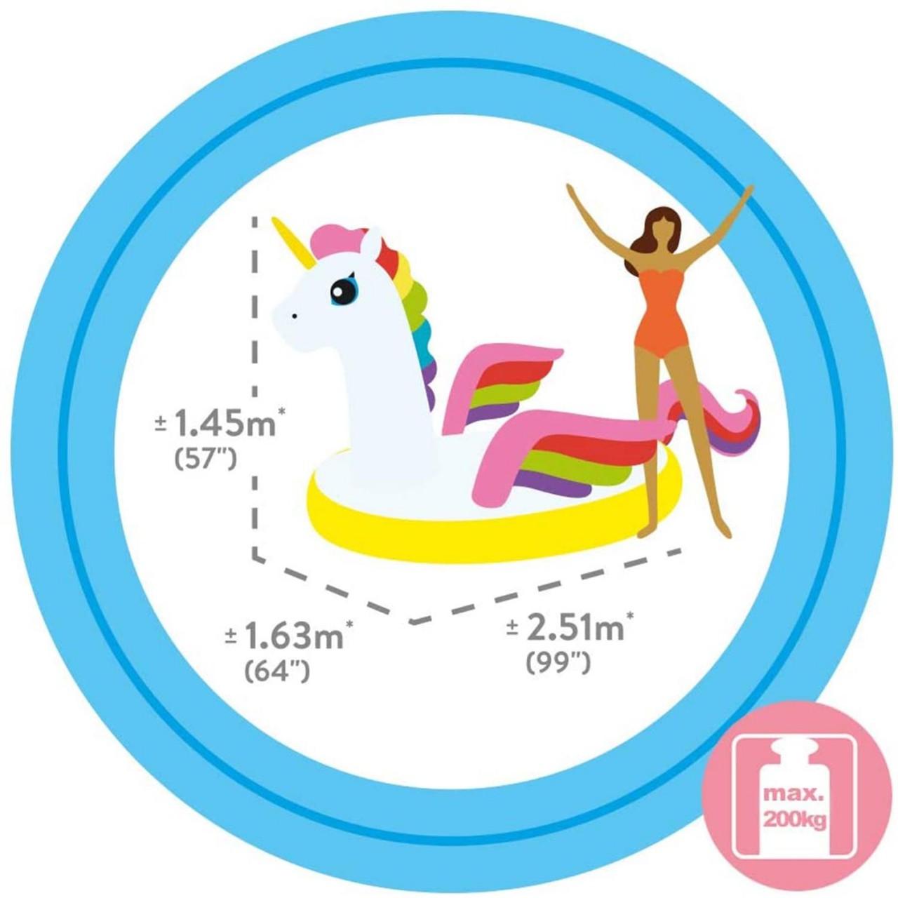 Intex Mega Unicorn Einhorn Badeinsel Lounge Luftmatratze 251x163x145 cm 57291