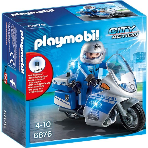 Playmobil 6876 Motorradstreife mit LED-Blinklicht