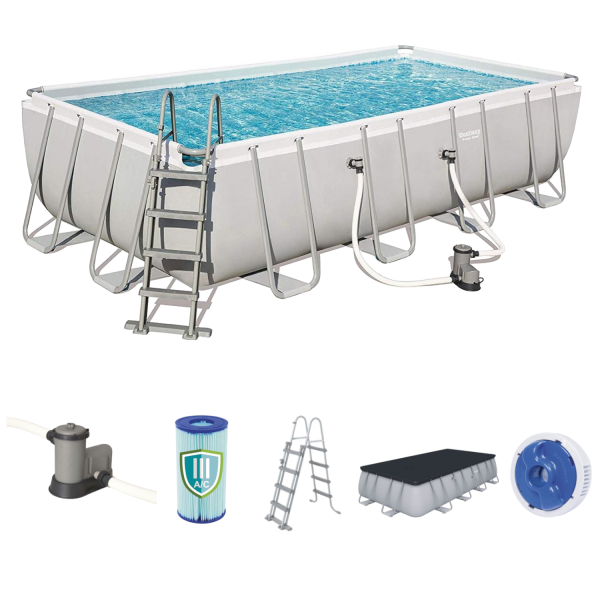 Bestway 56465 Frame Pool Power Steel Set 549x274x122 cm Pumpe Leiter Abdeckplane