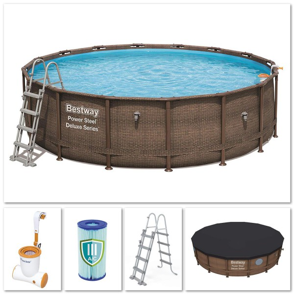 Bestway 56666 Power Steel Pool Set Deluxe Series Rattanoptik 488x122 cm