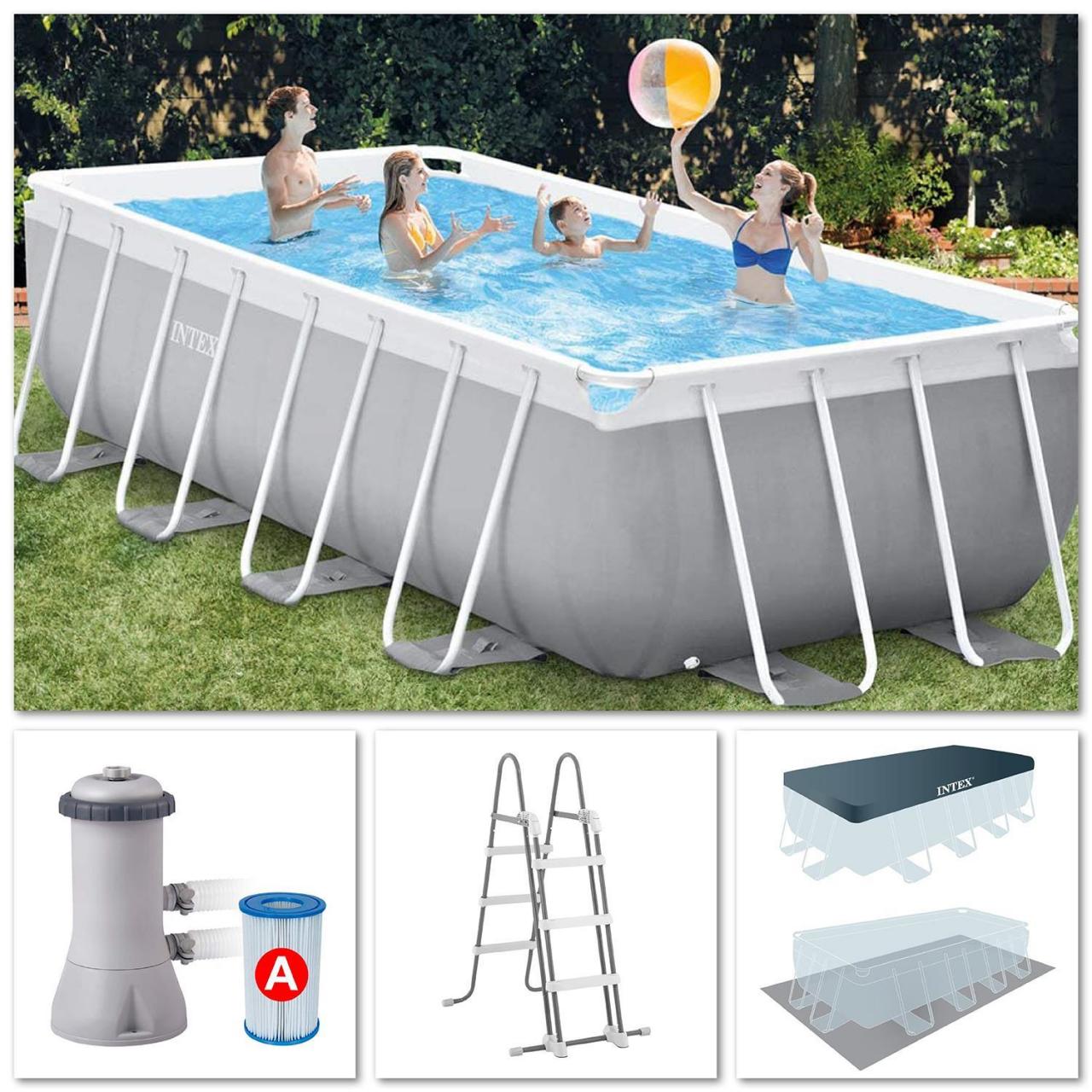 Intex Swimming Pool Set Frame Prism 488x244x107cm Pumpe Leiter Boden-Abdeckplane