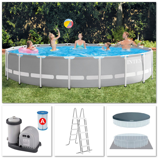 Intex 26756 Swimming Pool Frame Prism Ø610x132cm Pumpe Leiter Boden-Abdeckplane