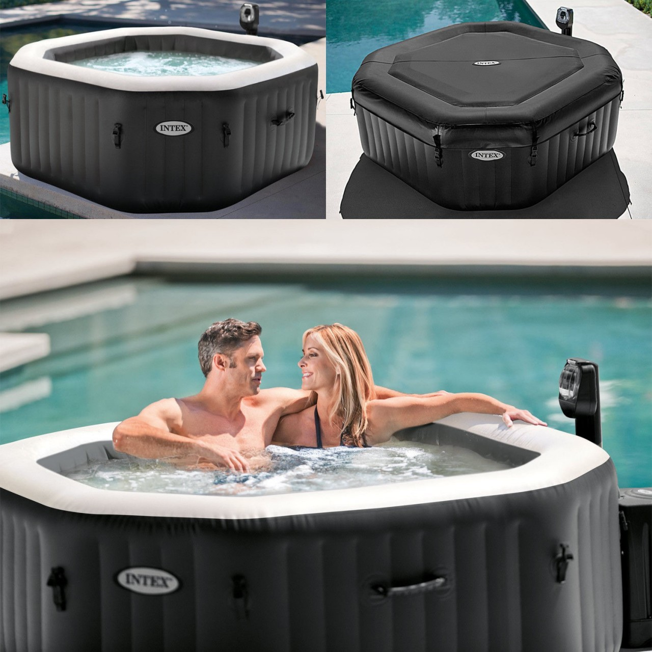 Intex 28454 Whirlpool Pure Spa Bubble Jet Salzwassersystem 201x71cm 4 Personen