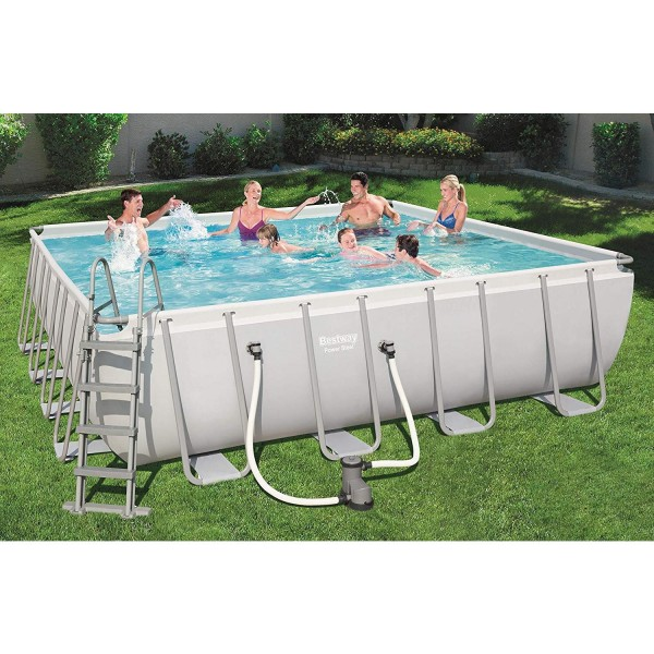 Bestway 56626 Frame Pool Power Steel 488x488x122 Pumpe Leiter Boden- Abdeckplane