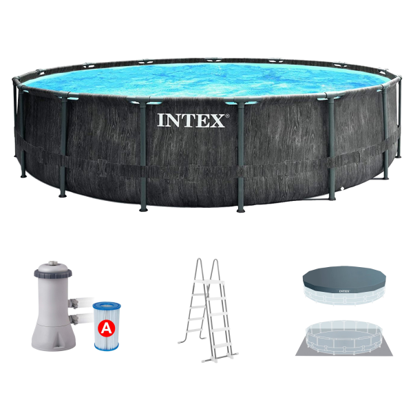 Intex 26742 Greywood Prism Frame Pool Set Ø457x122cm Pumpe Leiter Abdeckplane