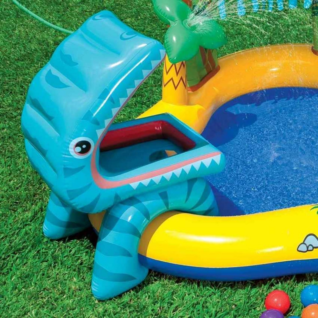 Intex Play Center Dino Planschbecken Pool Wasserrutsche Wasserfall aufblasbar
