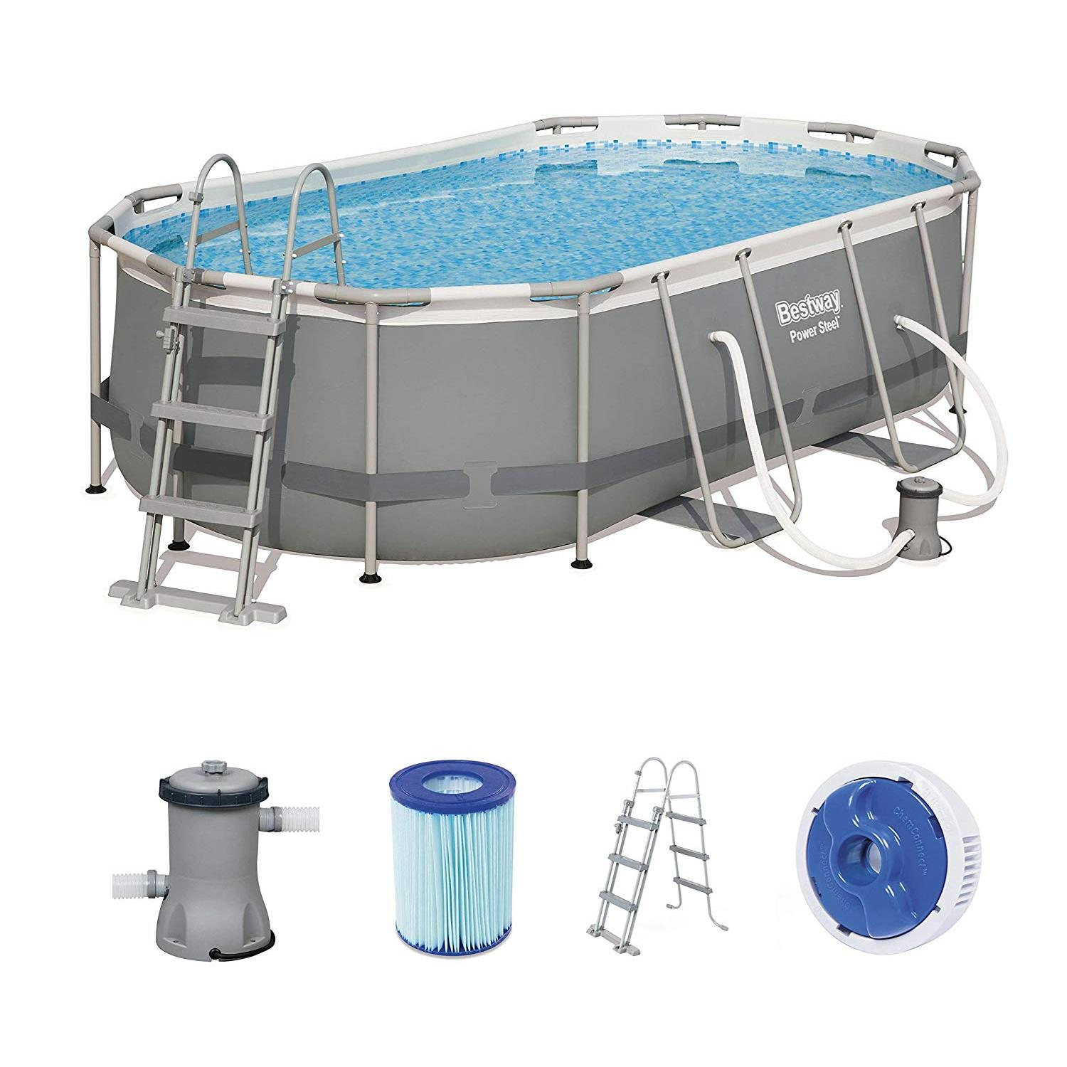 Bestway 56620 Frame Pool Power Steel Oval 424x250x100 cm Filterpumpe Leiter