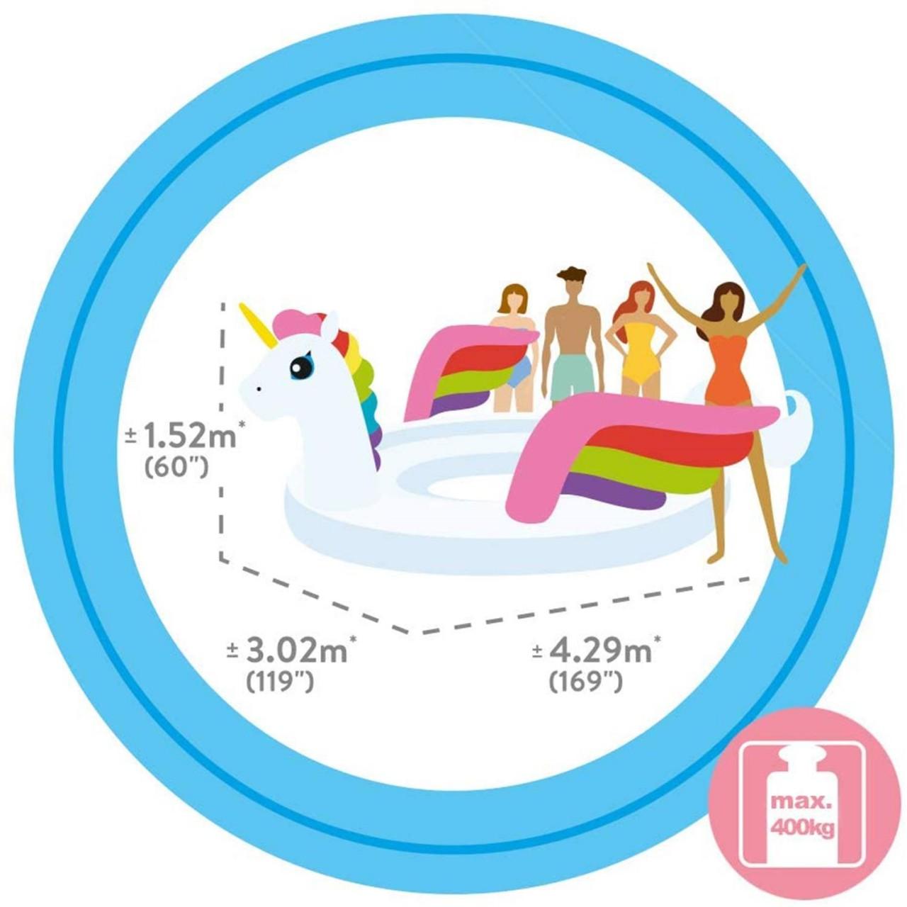 Intex Badeinsel Unicorn Reittier Party Luftmatratze aufblasbar 429x302x152 cm 57296