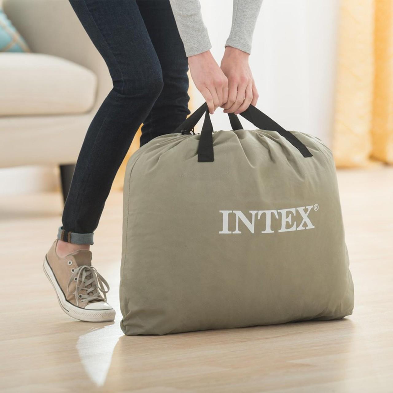 Intex Luftbett Comfort mit Pumpe Gästebett Luftmatratze 203x152x56cm Queen 64418