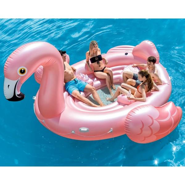 Intex Badeinsel Flamingo Reittier Party Luftmatratze aufblasbar 422x373x185cm