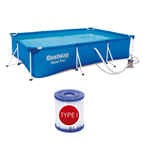 Bestway Frame Pool Set mit Pumpe 300x201x66cm Schwimmbecken Deluxe Splash 56411