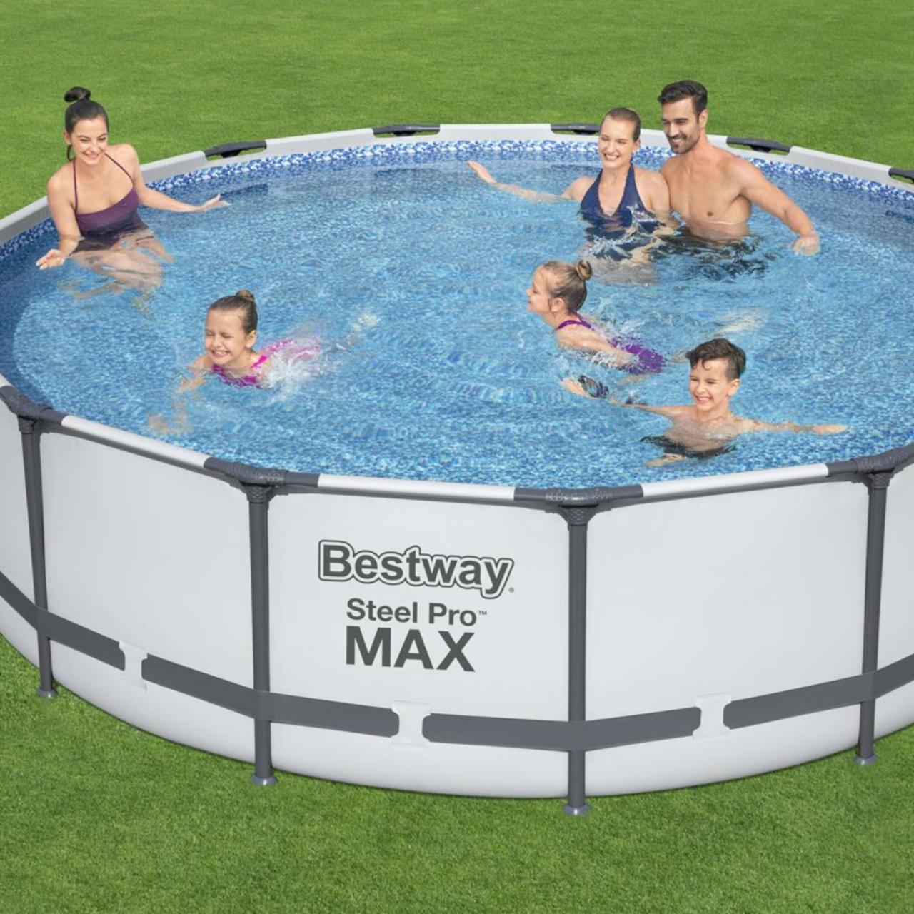 Bestway 56488 Steel Pro MAX Frame Pool Set Ø457x107cm Pumpe Leiter Abdeckplane