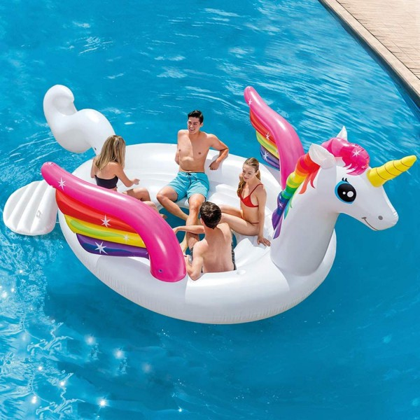 Intex Badeinsel Unicorn Reittier Party Luftmatratze aufblasbar 429x302x152 cm 57296