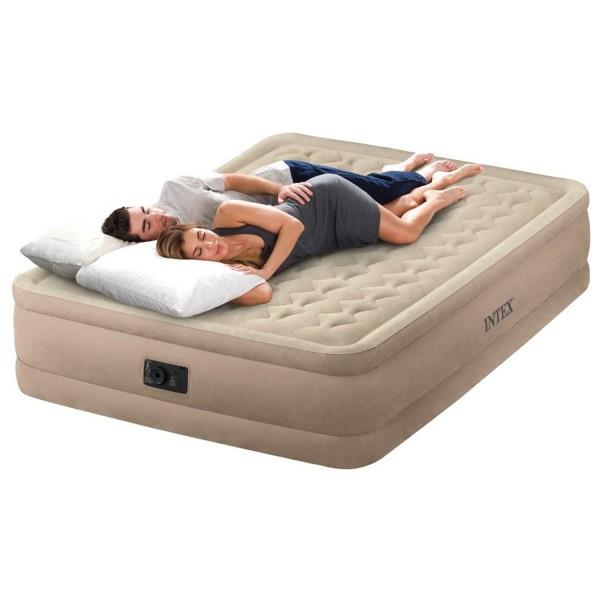 Intex Luftbett mit Pumpe Gästebett Luftmatratze 203x152x46 cm selbstaufblasend