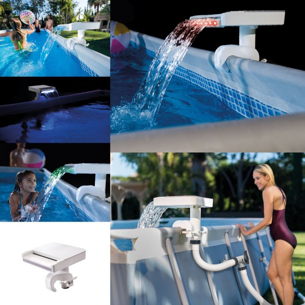 Intex 28090 Wasserfall Cascade Springbrunnen Multi-Color LED Pool Becken Sprayer
