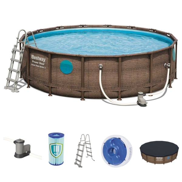 Bestway 56725 Power Steel Pool Set Swim Vista Rattanoptik 488x122 cm