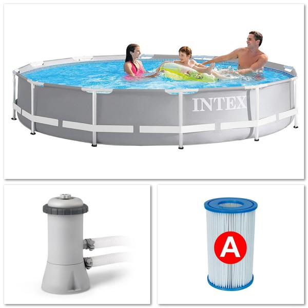 Intex 26712 Swimming Pool Set Frame Prism Ø366 x 76 cm Pumpe Schwimmbecken Pool