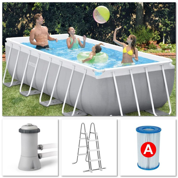 Intex 26788 Swimming Pool Set Frame Prism Quadra 400x200x100cm Pumpe Leiter Grau