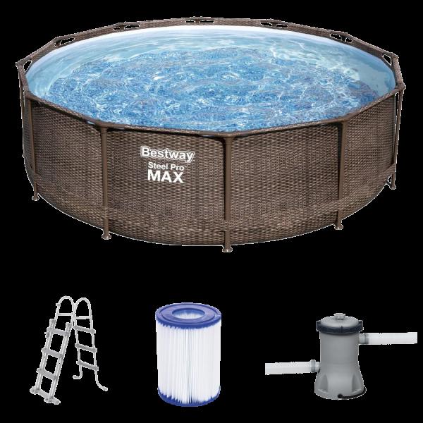 Bestway 56709 Steel Pro Max Pool Deluxe Series Rattanoptik Framepool 366x100 cm