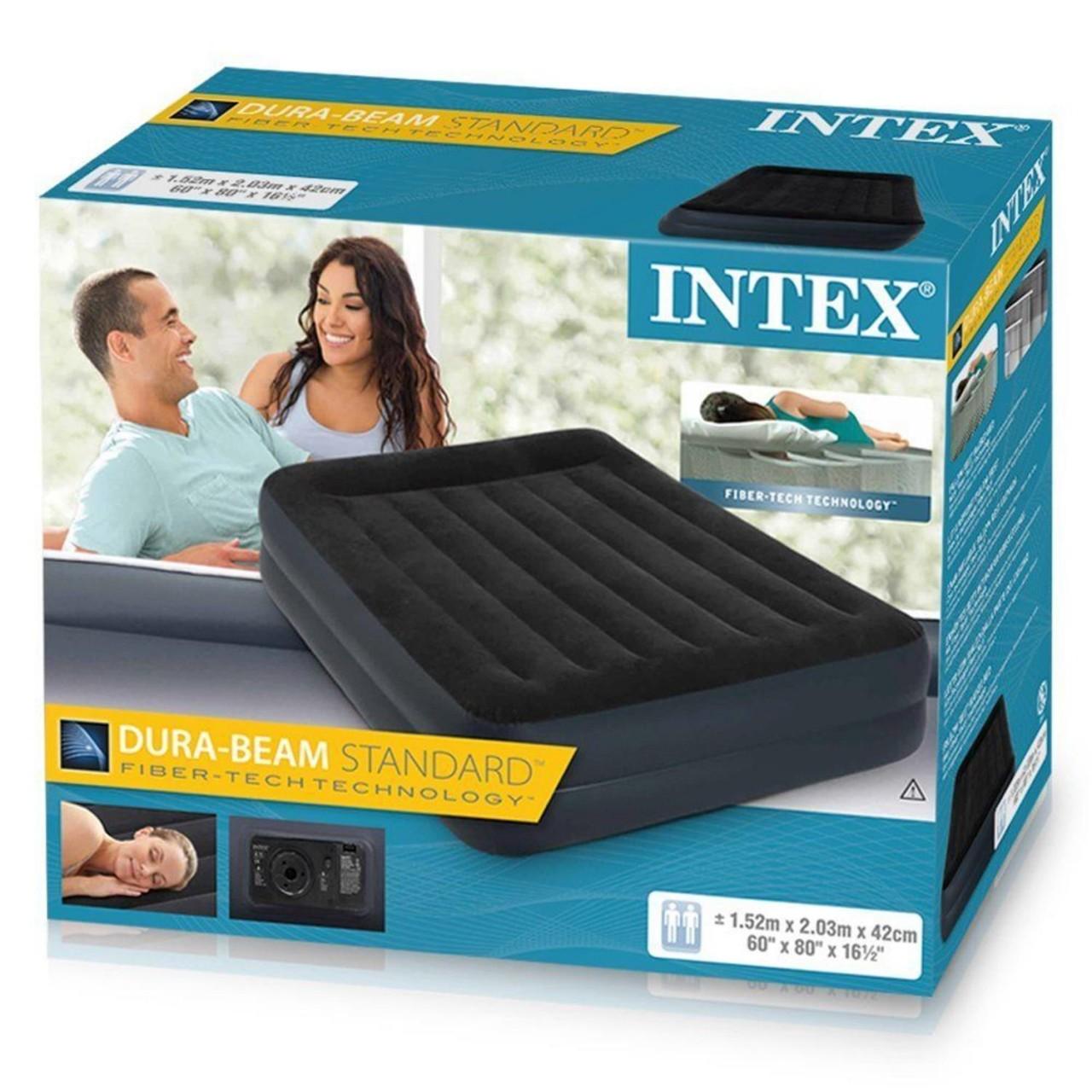 INTEX Luftbett mit Pumpe Gästebett Luftmatratze selbstaufblasend 203x152x42cm