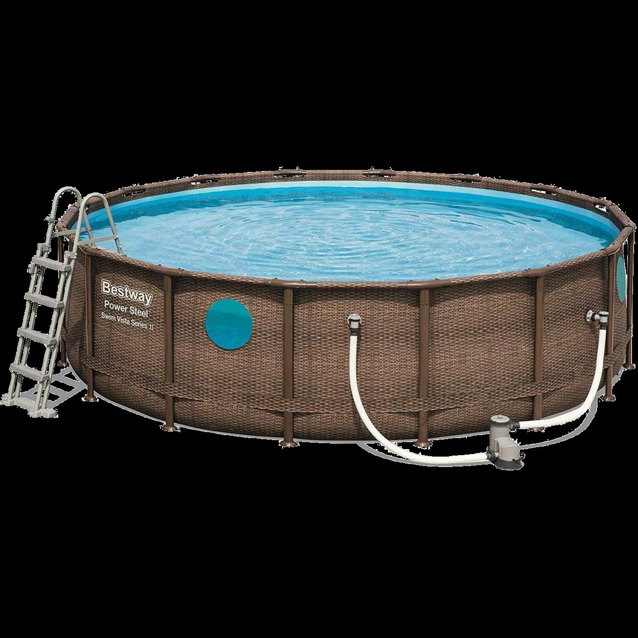 Bestway 56725 Power Steel Pool Set Swim Vista Rattanoptik 488x122 cm