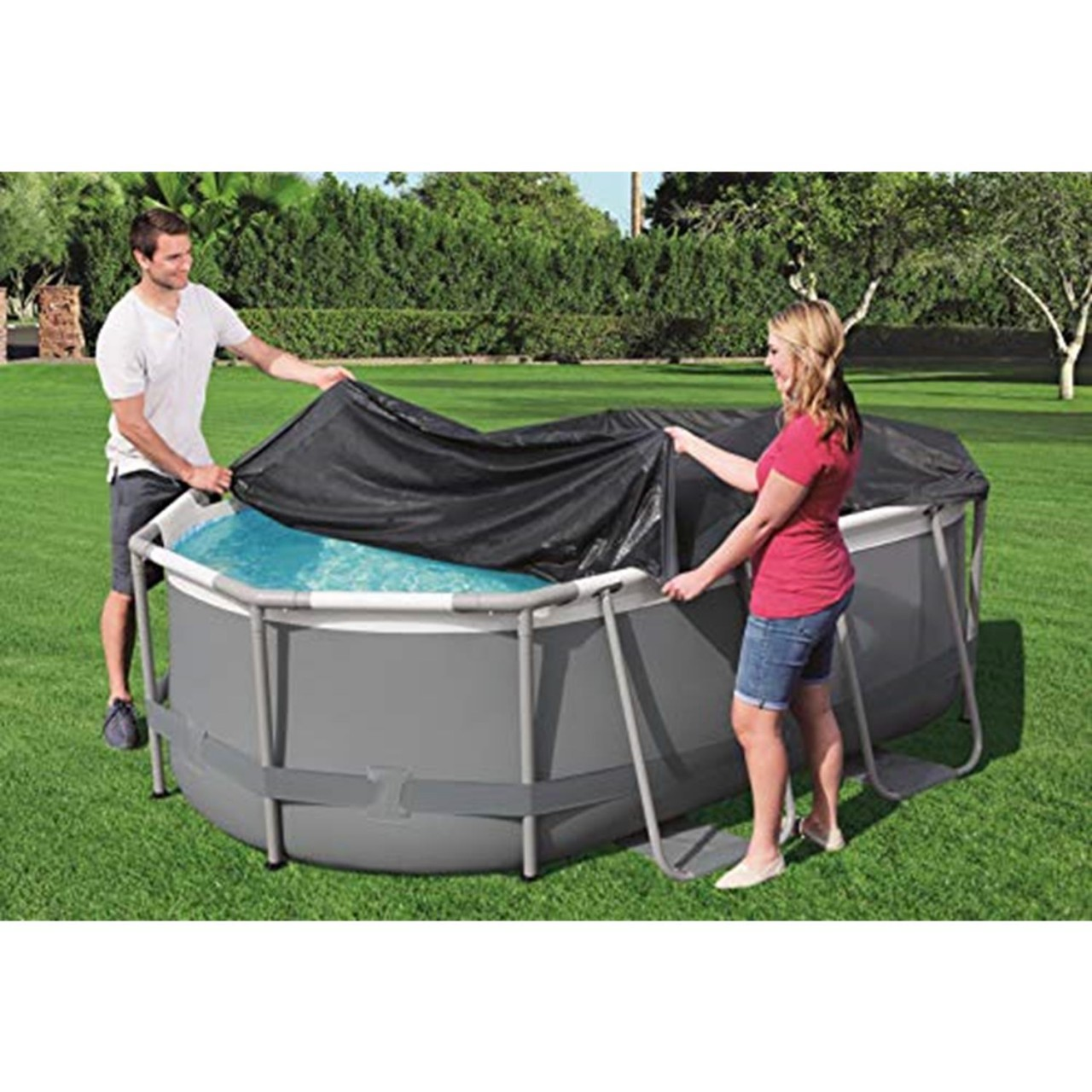 Bestway 58424 Pool Abdeckung für 300cmx200x84cm Power Steel Pool Oval