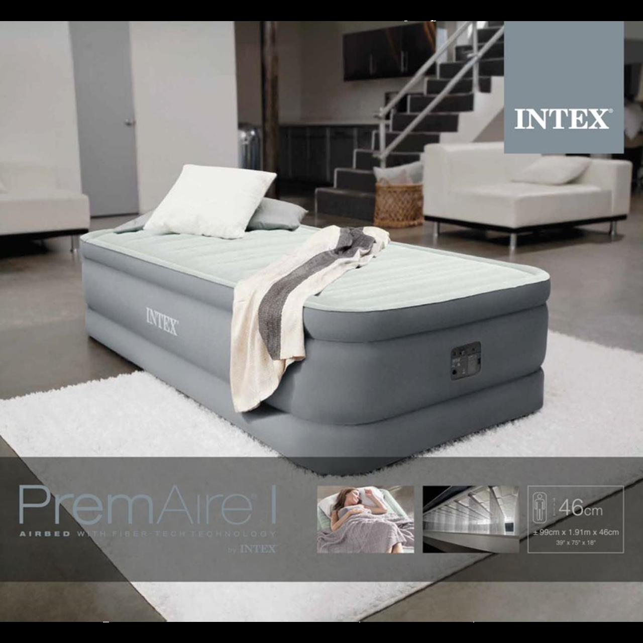 Intex Luftbett mit Pumpe PremAire Gästebett 191x99x46cm selbstaufblasend 64902