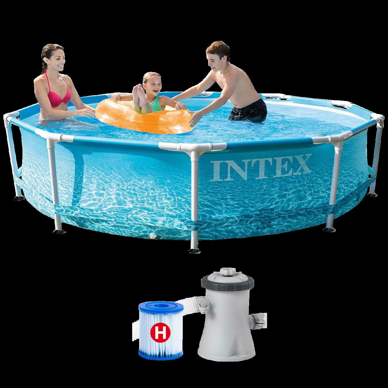 Intex 28208 Beachside Metal Frame Pool Ø305x76cm Filterpumpe Swimming Pool Rund