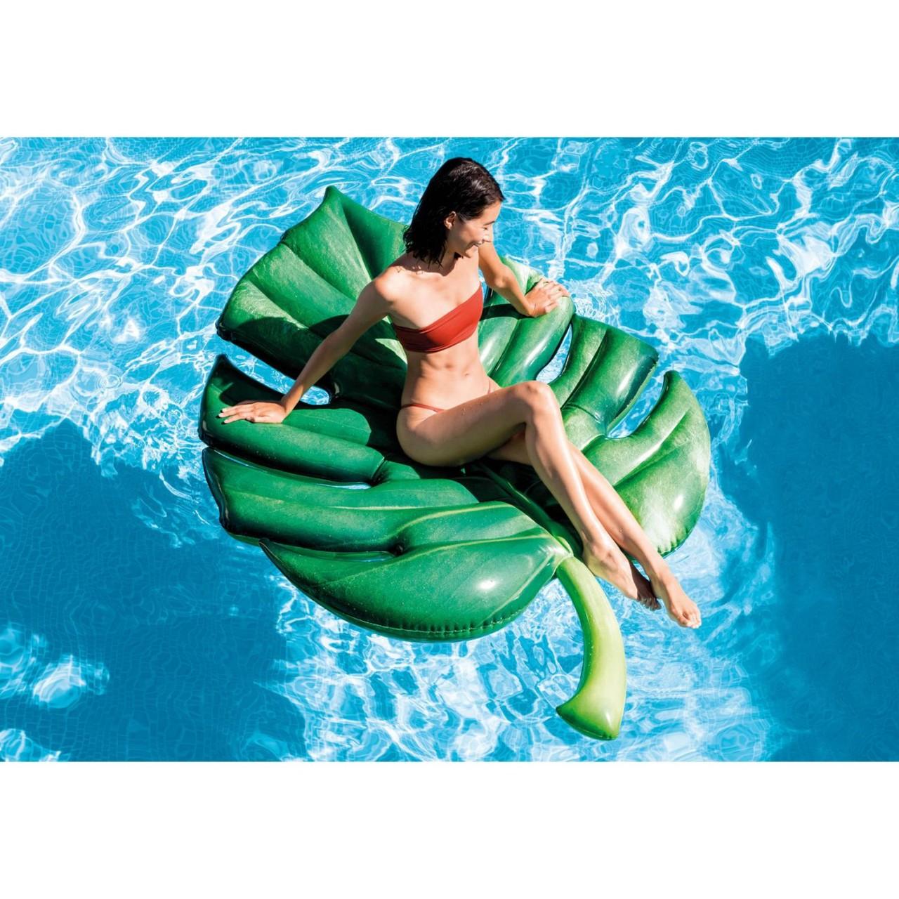 Intex Luftmatratze Palmblatt Badeinsel Wasserliege 213x142 cm aufblasbar 58782