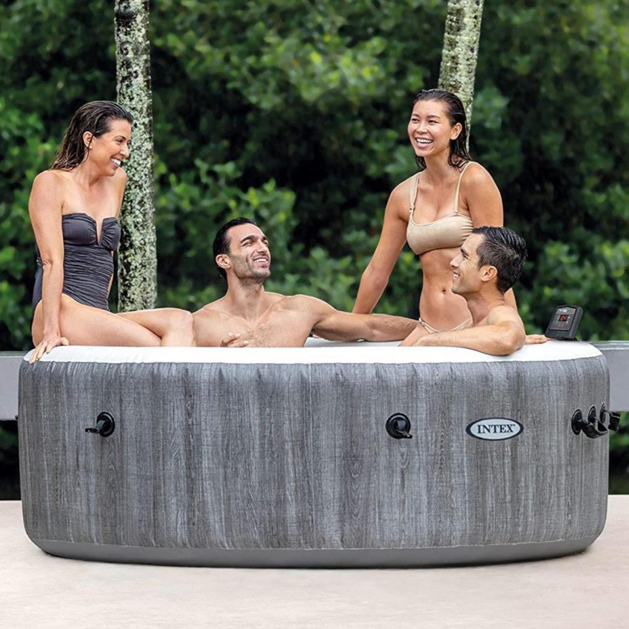 Intex 28440 Whirlpool Pure SPA Bubble Massage GreyWood 196x71 cm aufblasbar