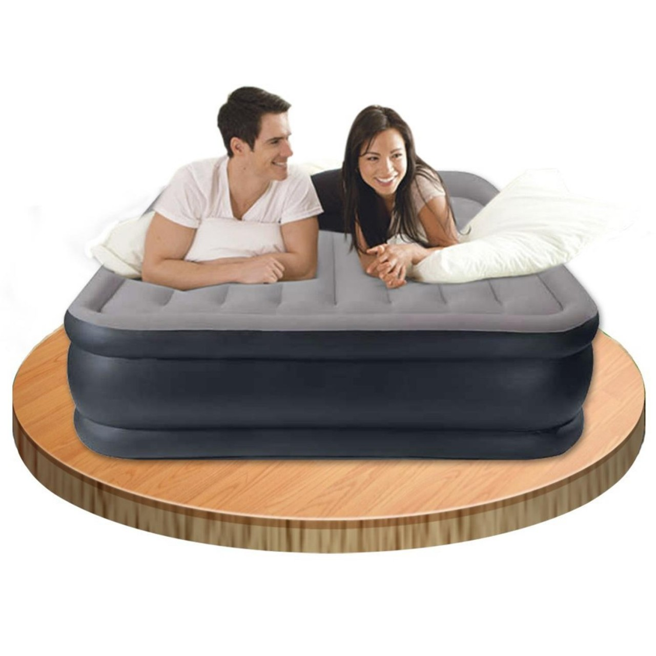 Intex Luftbett mit Pumpe Gästebett Luftmatratze 152x203x43 cm selbstaufblasend