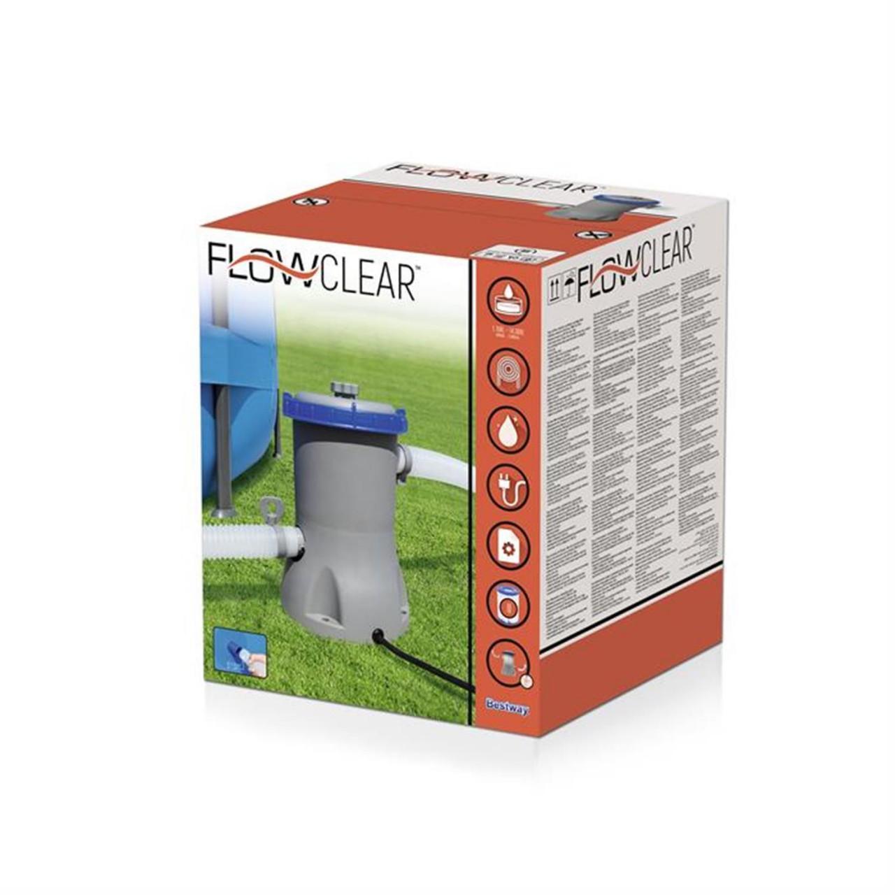 Bestway 58383 Filterpumpe Flowclear Poolreinigung + Filter Pumpleistung 2.006L/h