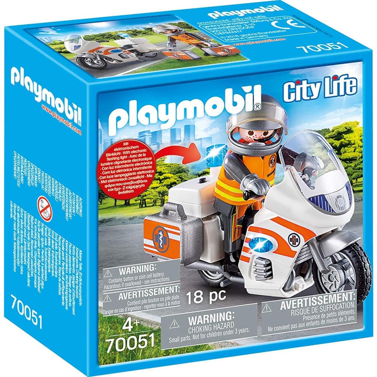 Playmobil 70051 Notarzt-Motorrad mit Blinklicht